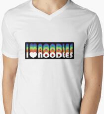 I (heart) Noodles on black Men's V-Neck T-Shirt