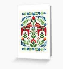 Schwedische Dala Pferde rot Grußkarte