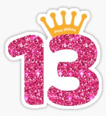 13th Queens Crow Happy Birthday for Girls Sticker
