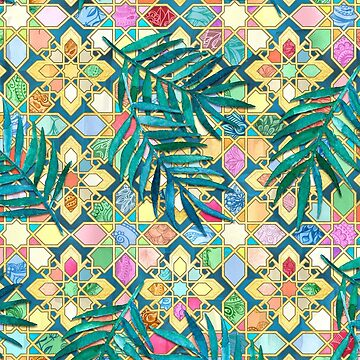 Gilded Moroccan Mosaic Tiles with Palm Leaves by micklyn