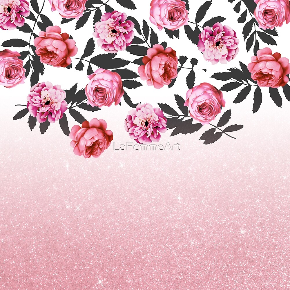 Pink And Red Girly Rose Flowers And Glitter Ombre By Lafemmeart