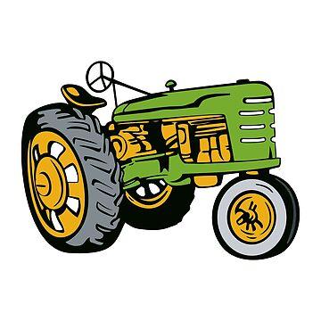 Vintage Farm Tractor Side View retro by retrovectors
