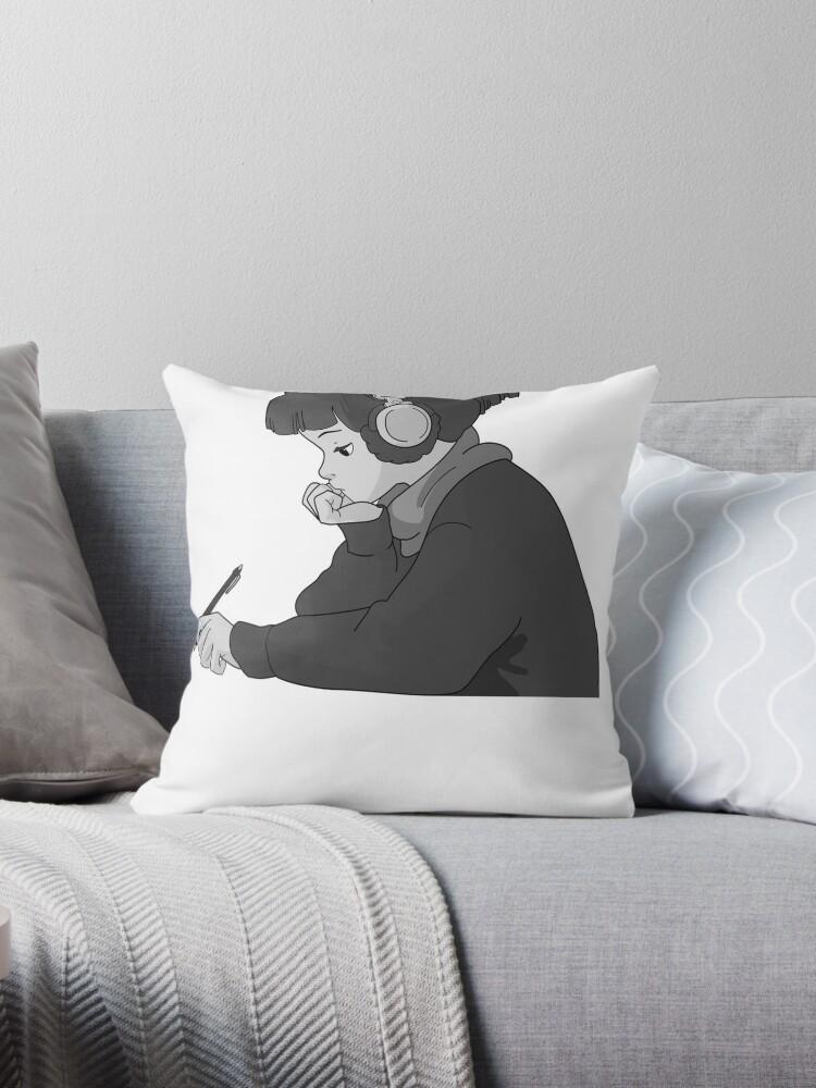 'lo fi hip hop radio girl ' Throw Pillow by Cosmox