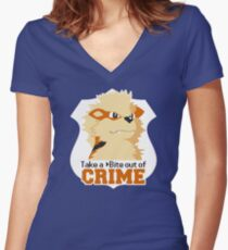 Take a Bite Out of Crime Women's Fitted V-Neck T-Shirt