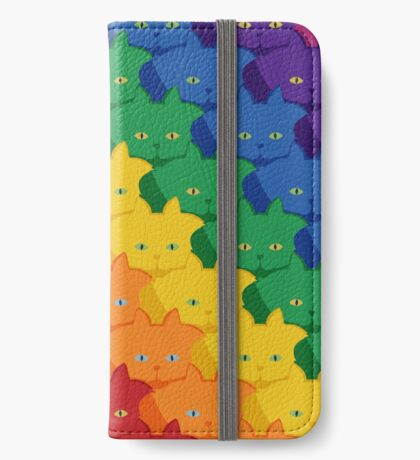 Rainbow Diagonal Jumbo Stripe Cattern [Cat Pattern] iPhone Wallet
