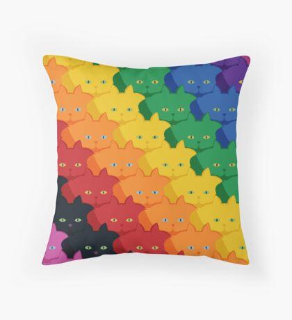 Rainbow Diagonal Jumbo Stripe Cattern [Cat Pattern] Throw Pillow