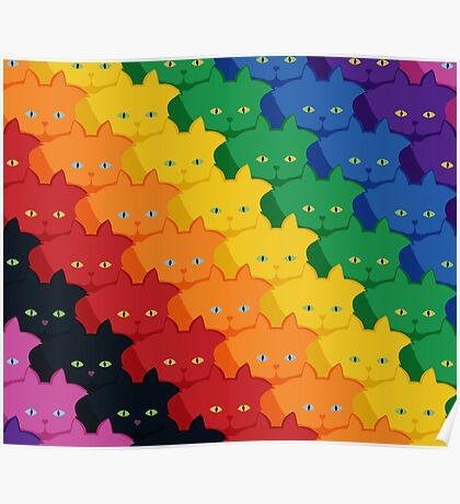 Rainbow Diagonal Jumbo Stripe Cattern [Cat Pattern] Poster