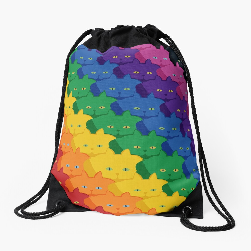 Rainbow Diagonal Jumbo Stripe Cattern [Cat Pattern] Drawstring Bag