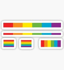 LGBT thin subtle modern rainbow flag on black Gay Lesbian Bisexual Pride  Sticker
