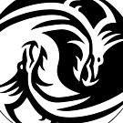 Chinese Ying Yang dragon in a tribal graphic illustration in black and white tribal  by CindyDs