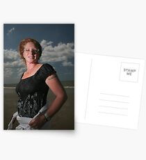 Woman on beach Postcards
