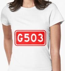 G503国道 | China National Highway Route Number Sign Women's Fitted T-Shirt