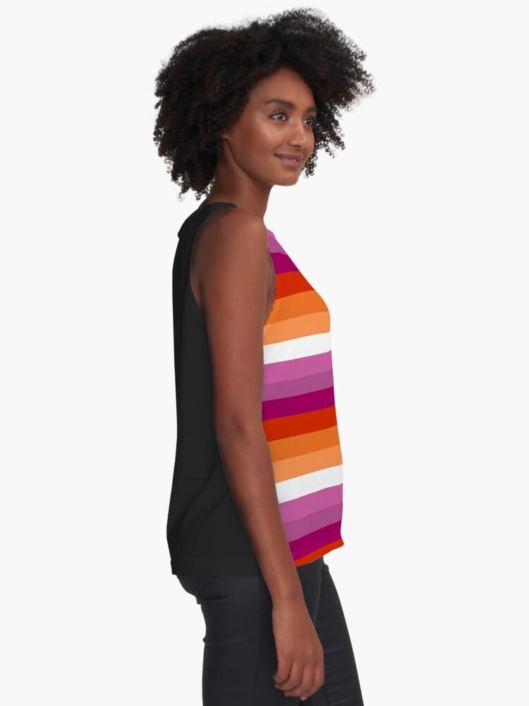 Alternative Ansicht von Orange - Magenta Linien // Lesben Pride Flag // Butch Femme Pride Flagge Ärmelloses Top