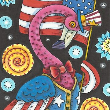 OLD GLORY PINK FLAMINGO by SusanBrackArt