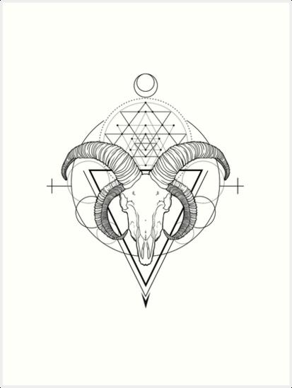 Jacobs Goat Skull Tattoo Design\