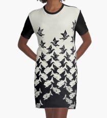 Fish and Birds Art Deco Tessellation Graphic T-Shirt Dress