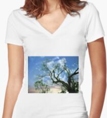 Sun and Tree Women's Fitted V-Neck T-Shirt