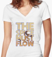 Dune The Spice Must Flow Graphic Women's Fitted V-Neck T-Shirt
