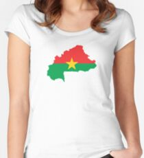 Flag Map of Burkina Faso  Women's Fitted Scoop T-Shirt