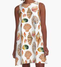 Coral pink orange watercolor nautical seashells A-Line Dress