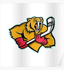 Saber Toothed Cat Ice Hockey Mascot Poster