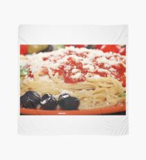 spaghetti with tomatoes and olives food background Scarf