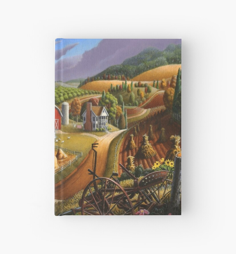 Taking Pumpkins To Market Fall Farm Landscape - Thanksgiving Folk Art by Walt Curlee