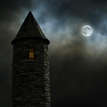 Castle Turret with Full Moon by befehr