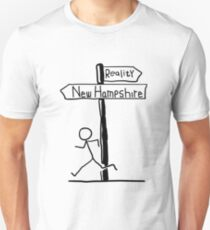 "Funny ""New Hampshire vs Reality"" Signpost Themed Design Unisex T-Shirt"