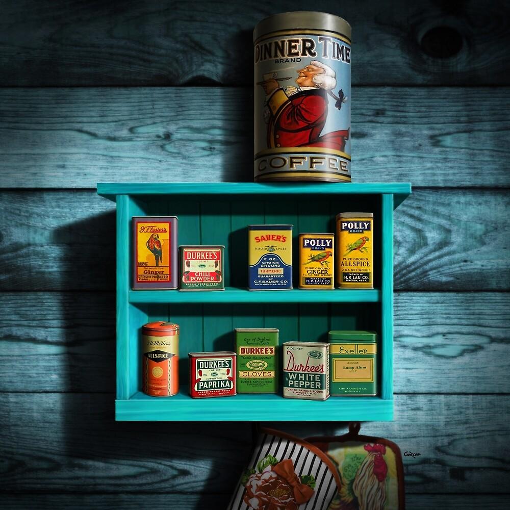 Vintage Spice Rack and Spice Tins, Spice Vintage Spice Tins ...