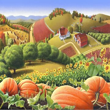 Fall Appalachian Pumpkin Patch Farm Folk Art Landscape - Thanksgiving Farm Landscape by waltcurlee