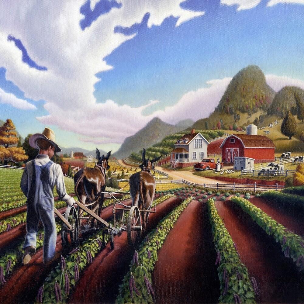 Farmer Cultivating Peas Farm Landscape  by Walt Curlee