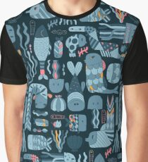 Doodle fish pattern Graphic T-Shirt