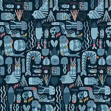 Doodle fish pattern by kostolom3000
