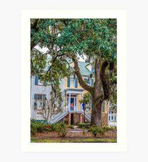 Townhouse Behind Southern Oaks Art Print