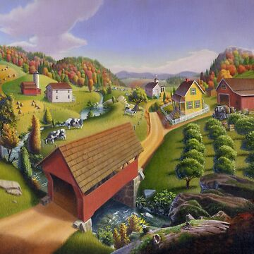 Folk Art Covered Bridge Appalachian Country Farm Summer Landscape  by waltcurlee