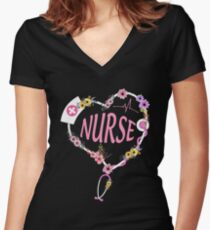 Nurse Life Best Waterflower Decor Women's Fitted V-Neck T-Shirt