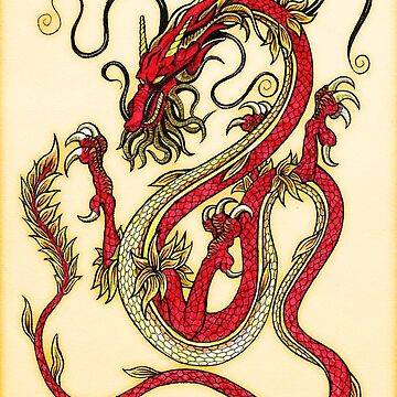 Chinese Dragon - Red and Gold by SquareDog