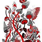 Red and Black Mushrooms by Ruta Dumalakaite