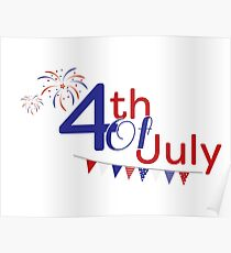 4th of july fireworks and flags Poster