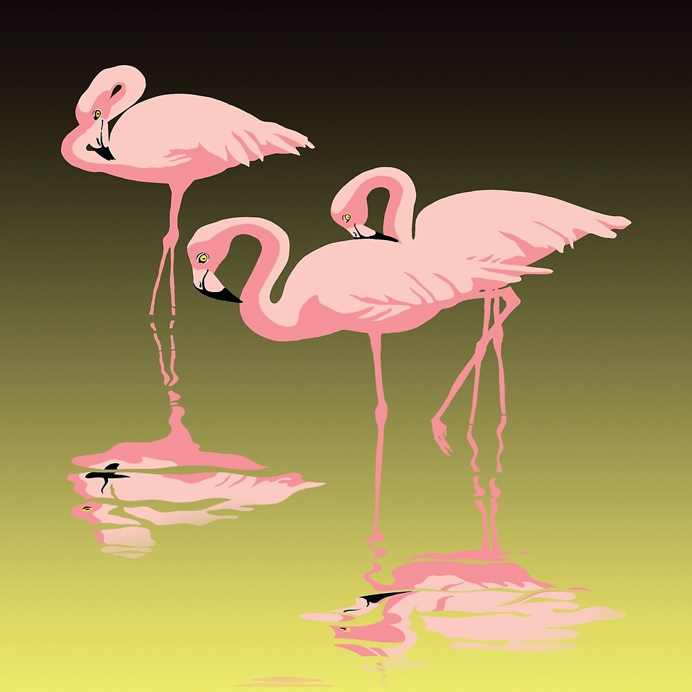 Pink Flamingos Tropical Florida abstract Retro pop art by Walt Curlee