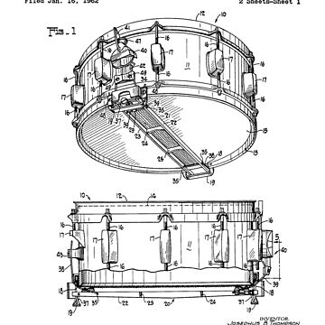 Snare Drum Thompson Patent Black by Vesaints