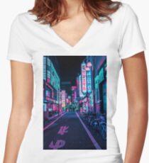 Tokio - Ein Neon-Wunderland Tailliertes T-Shirt mit V-Ausschnitt