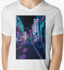 Tokio - Ein Neon-Wunderland T-Shirt mit V-Ausschnitt für Männer