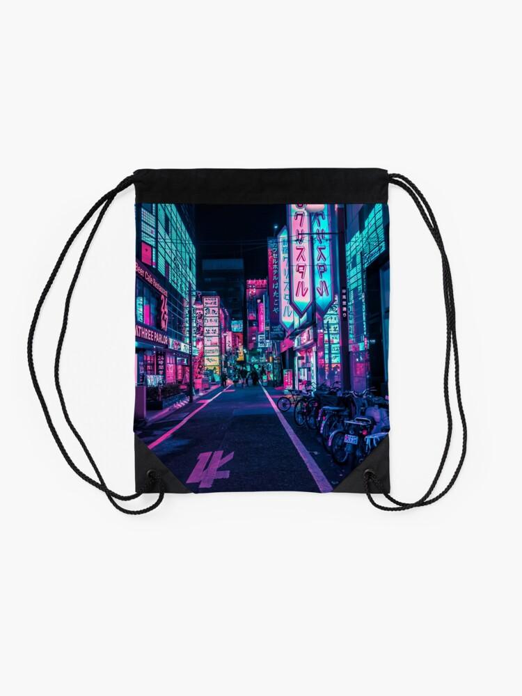 Alternate view of Tokyo - A Neon Wonderland Drawstring Bag