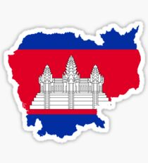 Flag Map of Cambodia  Sticker