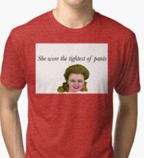 Tight Pants / Body Rolls - Leslie Hall Tri-blend T-Shirt
