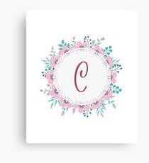 Monogram C Pretty Pastel Pink Flowers Canvas Print
