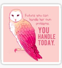 """You Handle Today"" Encouraging Pink Barn Owl Sticker"