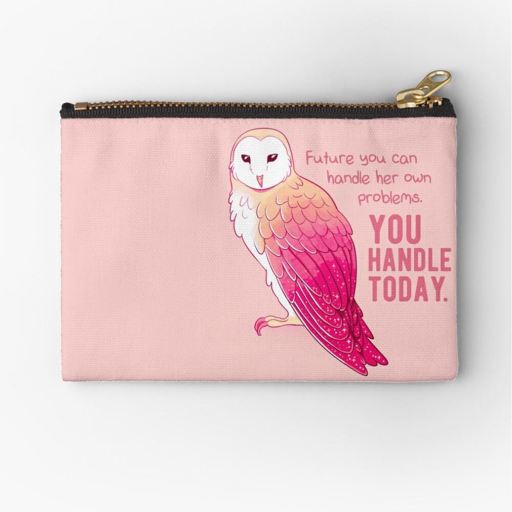 """""""You Handle Today"""" alentando a Pink Barn Owl Bolsos de mano"""